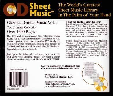 Classical Guitar Music vol 1 [CD-ROM] - Sheet Music
