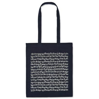 Tote bag, dark blue, note figures