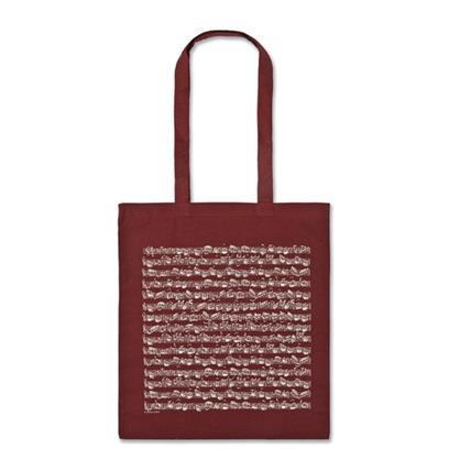 Tote bag, red, note figures