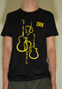 Black TGF t-shirt with yellow guitars (Regular O and Lady fit V)