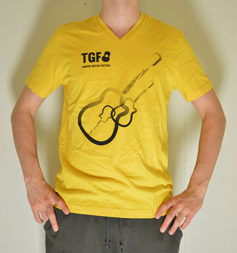 Yellow TGF t-shirt with black guitars (Regular and Lady fit)