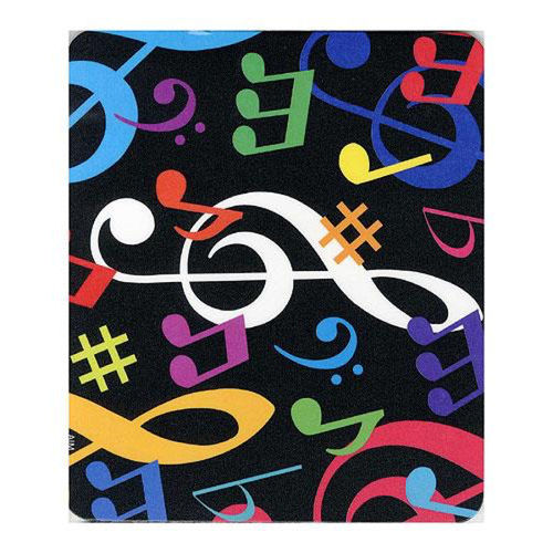 Mouse mat - round with treble clef and keyboards